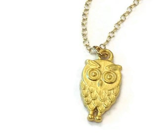 Owl Necklace - Gold Jewelry - Charm - Pendant - Jewellery - Simple - Everyday Dainty Chain Woodland Nature Bird Luxe Wisdom
