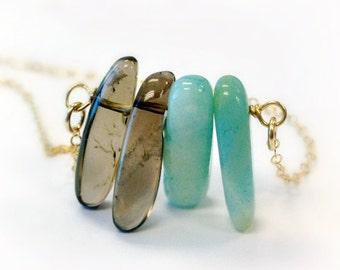 Smoky Quartz - Amazonite Necklace - Blue and Brown Beadbar Jewelry - Gemstone Jewellery - Spike - Gold Chain - Point - Arrow N-TBM