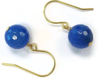 Blue Earrings - Agate Gemstone Jewelry - Gold Jewellery - Simple - Summer - Fashion - Minimal