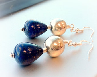 Navy Blue Lapis Earrings - Sterling Silver Jewelry - Gemstone Jewellery - Denim - Lapis Lazuli - Dangle Teardrop Chunky