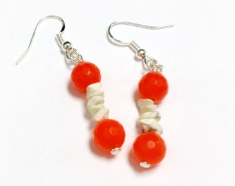 Orange Earrings - Jade Gemstone Jewelry - White Turquoise Jewellery - Boho - Sterling Silver - Neon - Modern ER-186