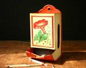 vintage tin match box holder