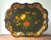 Vintage tole tray, large hand painted tray.