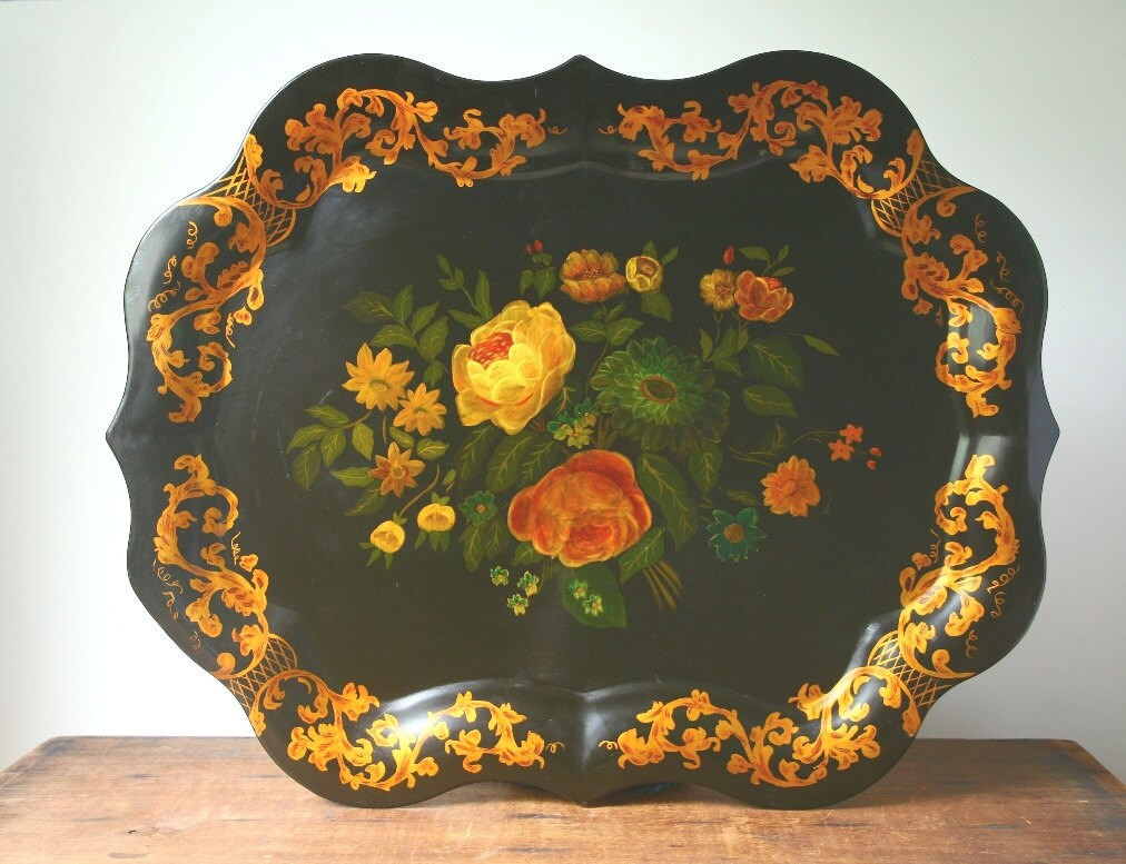 Vintage Tole Tray Large Hand Painted Tray By Cristinasroom