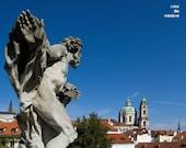 Prague photograph, Blue sky, city landscape, Vrtbovska garden, cityscape, 10x8, titled: View from Vrtbovska Garden