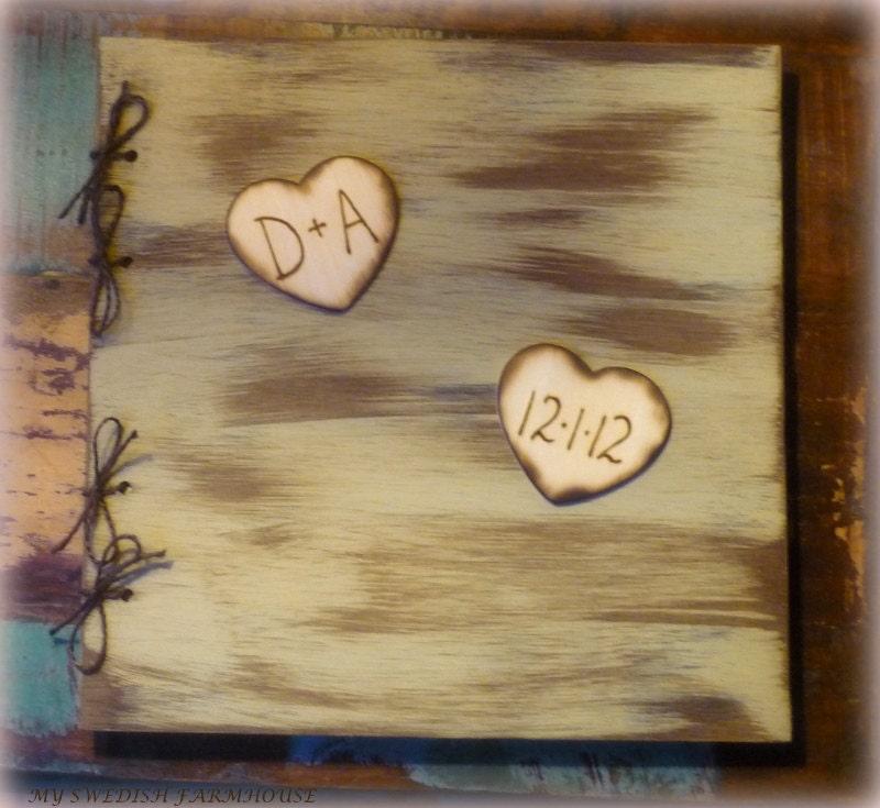 Wooden Wedding Album: Photo Album Guest Book Scrapbook Rustic By MinSvenskaLandgard