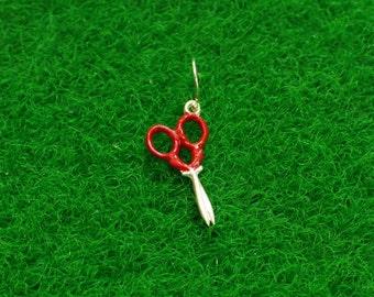 Handmade sterling silver scissors-earring