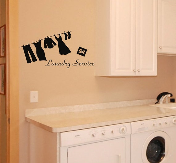 Laundry service wall decal laundry room removable wall sticker for Laundry room wall art