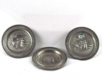 Vintage Pewter Coaster - Set of Three