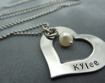Open Heart hand stamped stainless steel mothers necklace