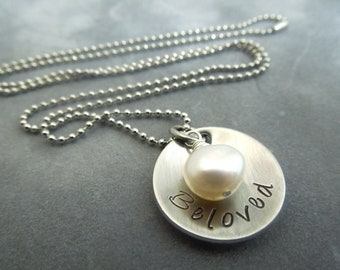 Beloved necklace, handstamped and domed stainless steel
