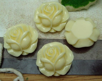6pcs---20mm Beautiful Rose Cabochon-Cream