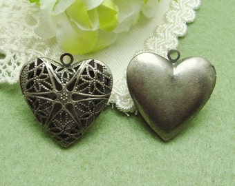 4 Pcs Antique Silver Plated Cute Heart Locket, NICKEL FREE(L2501)