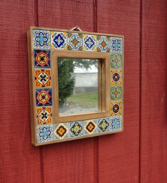 Custom Made Mexican Tile Rustic Wood Mosaic Framed Mirror. Made Mexican Tile Rustic Wood Mosaic Framed Mirror