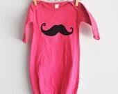 baby onesie sleepsack pink with mustache 0-3m