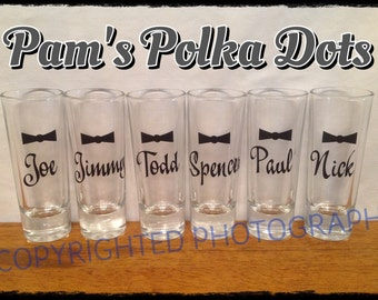 Personalized GROOMSMEN SHOT GLASS with Bow Tie for Groom Groomsman Best Man Bachelor Party Ushers Fraternity