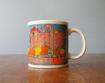 Vintage Taylor Ng Mug Classy Critters Chicken in a Basket