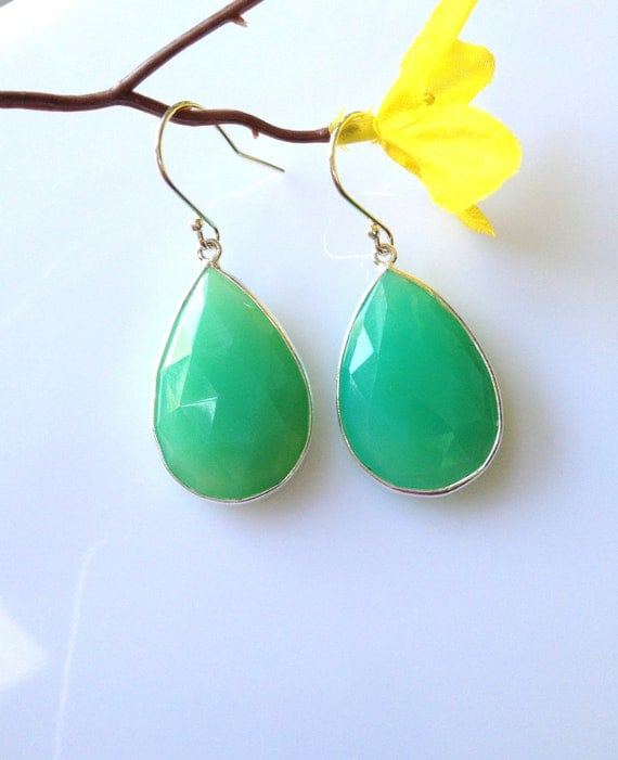 Silver Chalcedony Earrings, Chrysoprase Color Chalcedony with Sterling Silver Bezel Set and Earwires