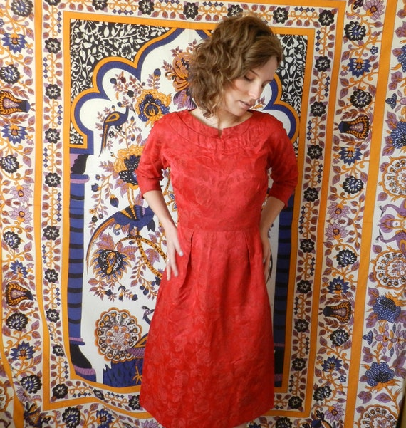 RESERVED AINECAMPBELL Vintage Red Rose 1950's Dress