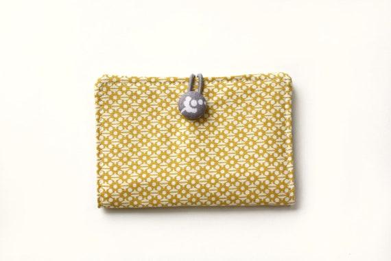 Business Card Case, Card Holder, Credit Card, Gift Card, Mustard, Honey Yellow, Ocher, Gray