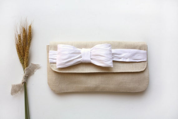 Linen and Silk Bow Tie Clutch, Cream Linen, White Silk, Purse, Handbag, Autumn, Holiday
