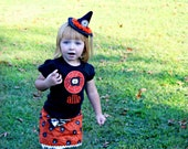 Ruffle/Bling Witch hat with Trick or Treat & Cats (FREE shipping)