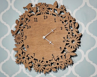 Wood Floral Wall Clock