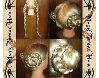 Princess LEIA HAIR BUNS pair of hair filler falls 22'' long Tribal Fusion belly dance Renaissance medieval fantasy wig