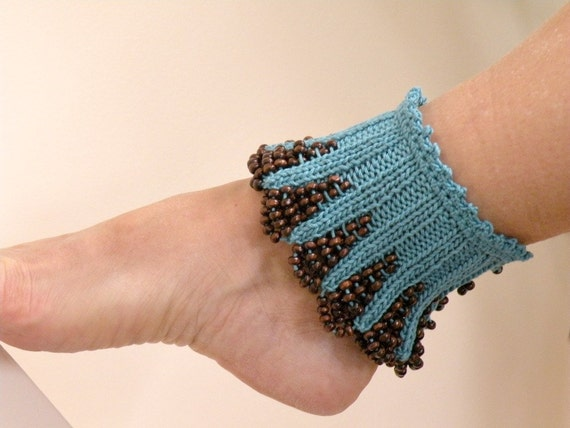Hand Knit Teal, Blue, Turquoise Spats with Brown Wooden Beaded