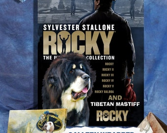 Tibetan Mastiff Fine Art Poster Canvas Print - Rocky Movie Poster by Nobility Dogs