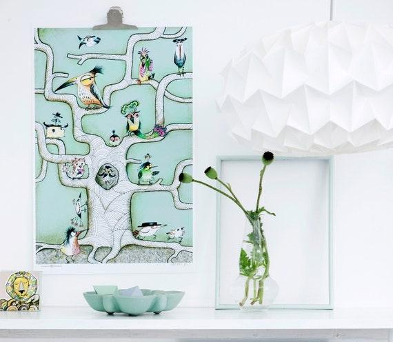 Bird Poster, mint green 50x70