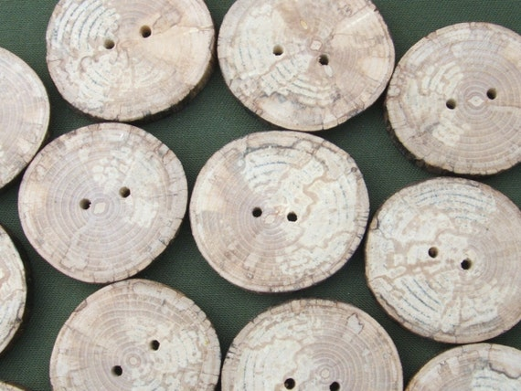 12 Handmade Rustic Spalted Ash Buttons 1 5/8 inch 41mm