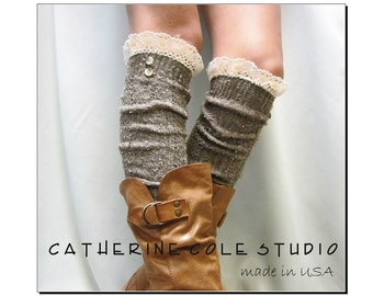 Lace boot socks NORDIC WOODS in brown tweed women socks for boots, boot socks, knee socks,lace socks, Catherine Cole Studio BKS2BL