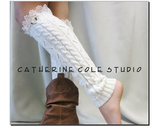 Crochet cable  knit leg warmers ivory / womens  great with cowboy boots /  combat boots by Catherine Cole Studio legwarmers open work
