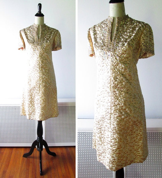1960s Dress // Rhinestones and Glitter Galore  // Gold 1960s Cockail Mini Dress.