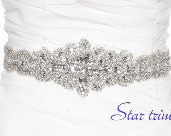 SALE TARYN wedding crystal beaded sash