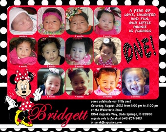 """Minnie Mouse First Birthday Invitations 12 Photos Red  with Black Polka Dots Customizable Printable 6x7.5"""" Costco Size"""