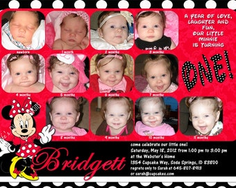 Minnie Mouse First Birthday Invitations 12 Photos Red Polka Dots Customizable Printable 5x7 or 4x6