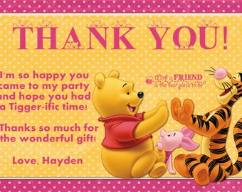 Winnie the Pooh Thank You Card Photo Option Dark Pink Customizable Printable