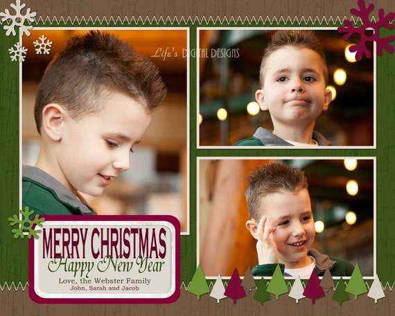 Items similar to Christmas Card Photo Collage Customizable ...