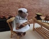 Plush Hamster Animal, Toy, White, Stripe, Beige - Gus, The Baker.
