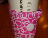 Pink Geometric Print Fabric Coffee Cup Cozy