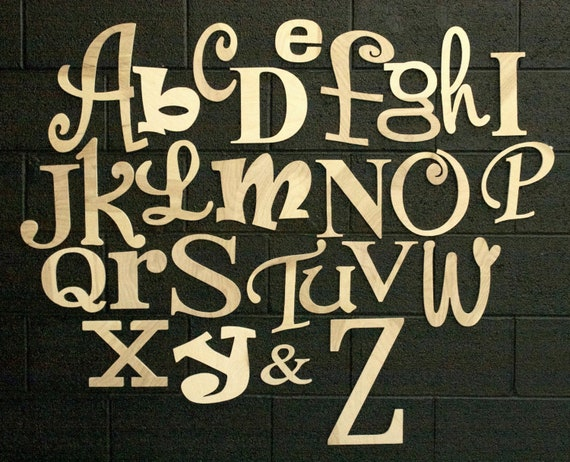 "Alphabet Set, Unfinished and Ready to be Painted! Letters are 4"" to 12"" tall"