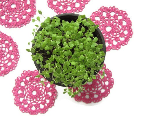 Crochet Berry Pink Tea Cup Coaster set of 6
