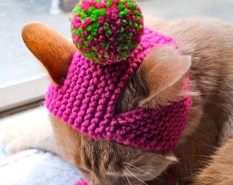 Pom Pom Cat Hat - Lime Green and Pink - Hand Knit Cat Costume
