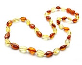 Baltic Amber Teething Necklace - Golden Lemon and Honey Color - Made in Canada