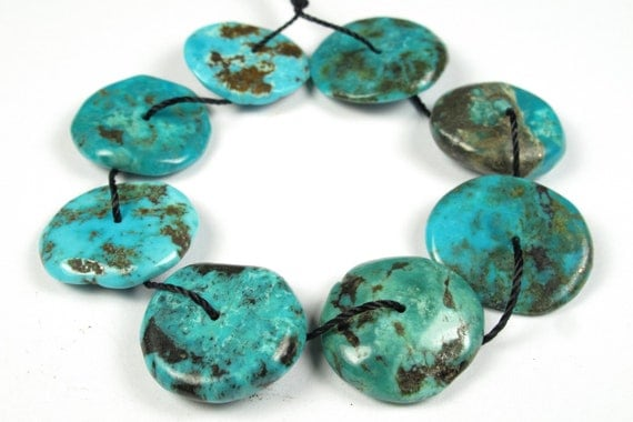 Fabulous Natural Hu-Bei Turquoise Disc Chips - 8 Pieces - A2518