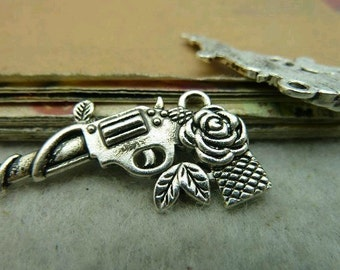 10pcs 18x30mm The Flower Gun  Silver  White Charm For Jewelry Pendant C3000