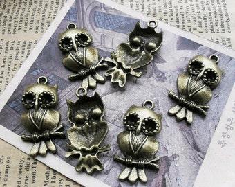 10pcs 18x36mm The Owl Antique Bronze Retro Pendant Charm For Jewelry Necklace Charms Pendants C966
