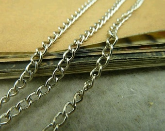 32 Feet 3x4mm White Plated Brass Twisted Cross Chains E1052-1
